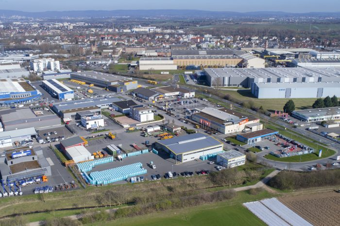 Industrial area, industrial district - aerial view